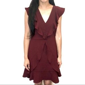 💎 Lulus Gorgeous Burgundy Red Ruffle Dress